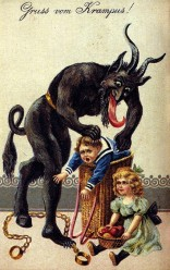 Typical 19th century Krampus card.
